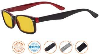 Visionkr Reduce Eyestrain,Anti Blue Rays,UV Protection Computer Reading Glasses(,Amber Tinted Lenses)