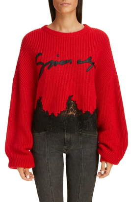 Givenchy Lace Detail Logo Sweater