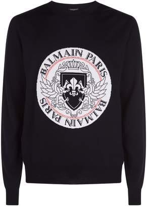 Balmain Logo Intarsia Sweater
