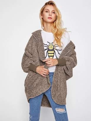 Shein Wide Cuff Hooded Dolman Sleeve Fluffy Teddy Coat