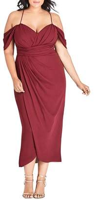 City Chic Plus Entwine Ruched Cold-Shoulder Maxi Dress
