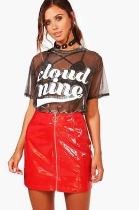 boohoo Petite Vinyl Zip Front Mini Skirt