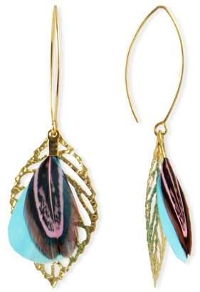 Taolei Filigree Leaf & Feather Drop Earrings