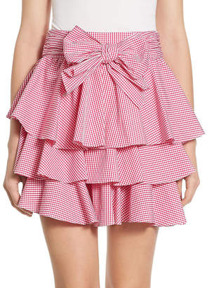 Scripted Gingham Tiered Ruffled Mini Skirt