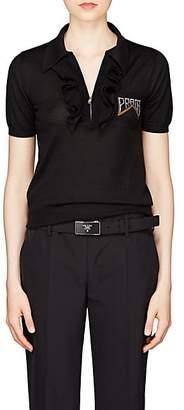 Prada Women's Wool-Cashmere Polo Shirt - Black