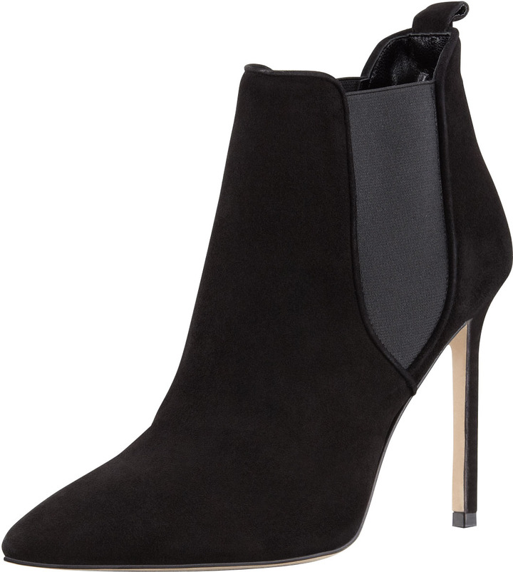 Manolo Blahnik Tungade Pointy Suede Ankle Boot, Black