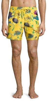 Vilebrequin Moorea Moon Fish-Print Swim Trunks, Bouton D'or $280 thestylecure.com