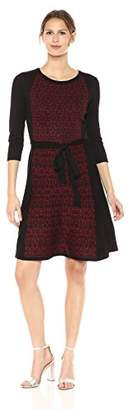 Gabby Skye Women's 3/4 Sleeve Round Neck Knee Length Sweater Fit & Flare Dress