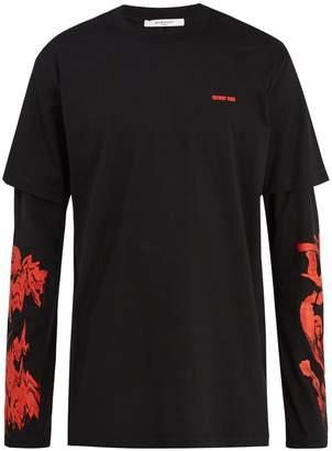 Givenchy Modern-fit rose-print long sleeve T-shirt