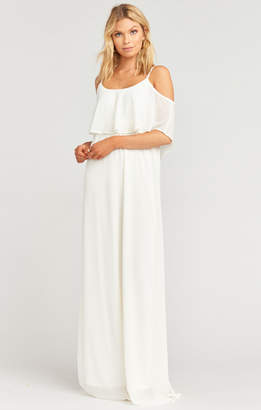 Show Me Your Mumu Caitlin Ruffle Maxi Dress ~ Wedding Cake Chiffon