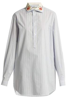 Gucci Double Collar Striped Cotton Shirt - Womens - Blue Stripe