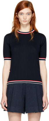 Thom Browne Navy Short Sleeve Tipping Stripe Crewneck Pullover $890 thestylecure.com