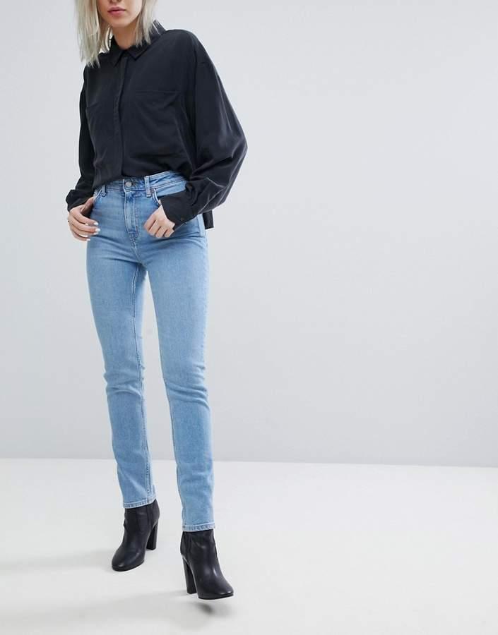 – Way – Schmale Jeans mit hohem Bund und grobem Saum