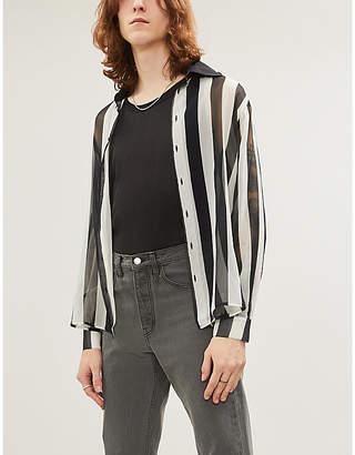 Enfants Riches Deprimes Striped regular-fit silk-crepe shirt