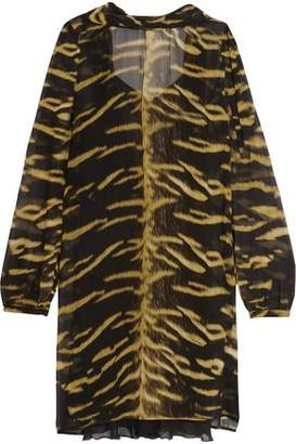 Roberto Cavalli Open-Back Printed Silk-Chiffon Mini Dress