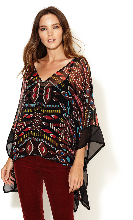 Twelfth St. By Cynthia Vincent Semi-Sheer Caftan Silk Blouse