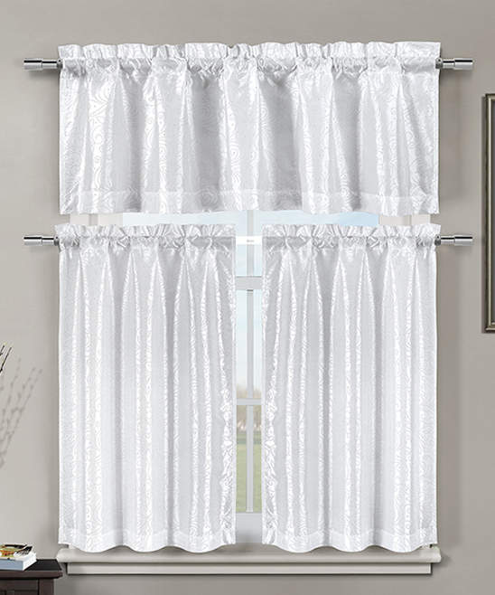 White Minka Curtain Panels & Valance Set
