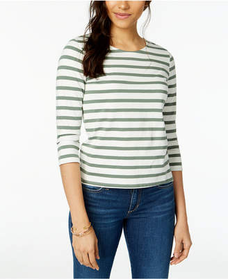 Maison Jules Cotton Striped Bow-Embellished Top
