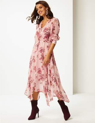 Marks and Spencer Floral Print Long Sleeve Tea Midi Dress