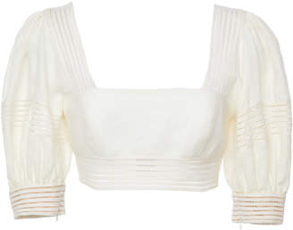 Zimmermann Corsage Linen Cropped Top