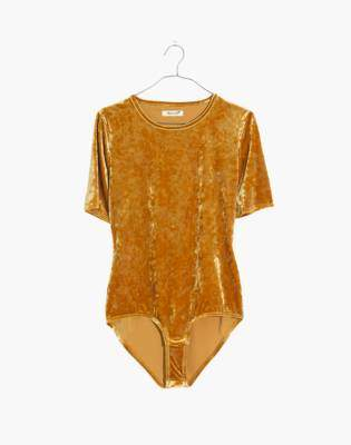 Madewell Crushed Velvet Short-Sleeve Bodysuit