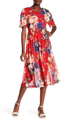 WEST KEI Floral Mesh Midi Dress