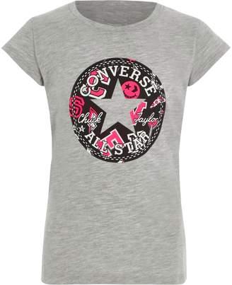 Converse River Island Girls Grey 'All Star' print T-shirt