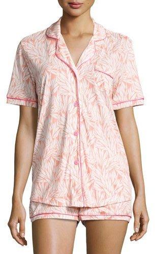 CosabellaCosabella Bella Printed Short-Sleeve Shorty Pajama Set, Light Gray/Black