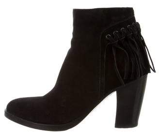 Sartore Suede Fringe Ankle Boots