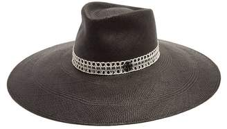 Maison Michel Pina Wide Brim Straw Hat - Womens - Black