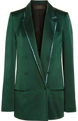 Haider Ackermann - Double-breasted Satin Blazer - Emerald $1,475 thestylecure.com