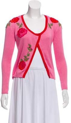 Blumarine Embroidered Knit Cardigan Pink Embroidered Knit Cardigan