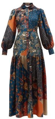 Evi Grintela Elsa Patchwork Print Silk Maxi Shirt Dress - Womens - Blue Print