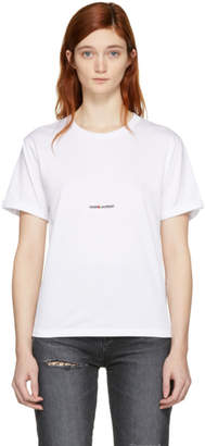Saint Laurent White Rive Gauche Boyfriend T-Shirt