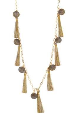 Rebecca Minkoff Metallic Pom Tassel Necklace