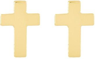 Polished Petite Cross Stud Earrings, 14K Gold