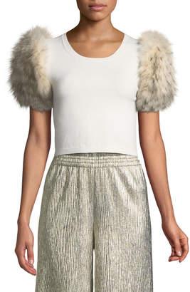Alice + Olivia Ciara Fur-Sleeve Cropped Sweater