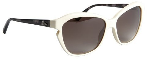 Christian Dior white and black acrylic notched 'Simply Dior' sunglasses