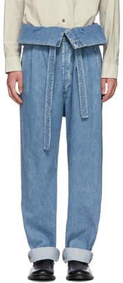 Loewe Indigo Belted Pleated Oversized Jeans