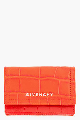 Givenchy Red Croc-Embossed Leather Envelope Wallet