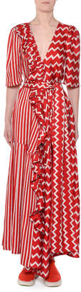 Stella McCartney Elbow-Sleeve Striped & Zigzag Silk Wrap Maxi Dress