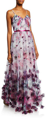 Marchesa Floral-Print Sweetheart Spaghetti-Strap Tulle Gown w/ 3D Chiffon Flowers