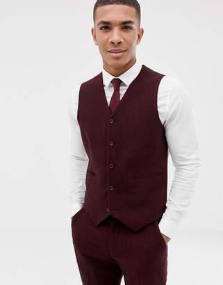 Asos DESIGN wedding skinny suit vest in burgundy wool mix herringbone