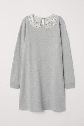 H&M Sweatshirt Dress with Collar - Gray