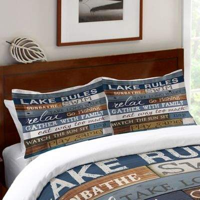 Laural Home® Lake Rules Standard Pillow Sham in Blue