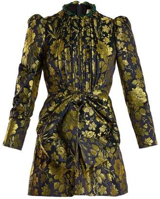 Gucci Romantic Flower Jacquard High Neck Dress - Womens - Gold Multi