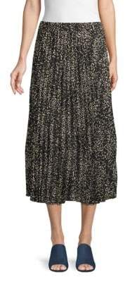 Max Studio Circle-Print Pleated Midi Skirt