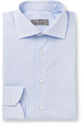 Canali Blue Slim-Fit Micro-Checked Cotton-Poplin Shirt - Men - Blue