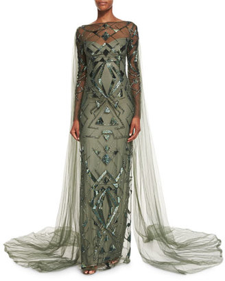 Monique Lhuillier Geometric-Beaded Long-Sleeve Cape Gown, Forest Green $8,595 thestylecure.com