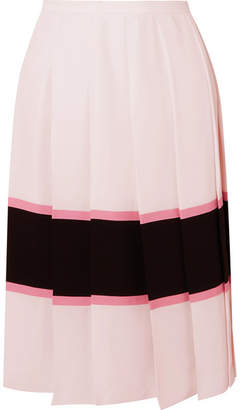 c822804c0b524 Marni Pleated Striped Crepe De Chine Skirt - Pastel pink